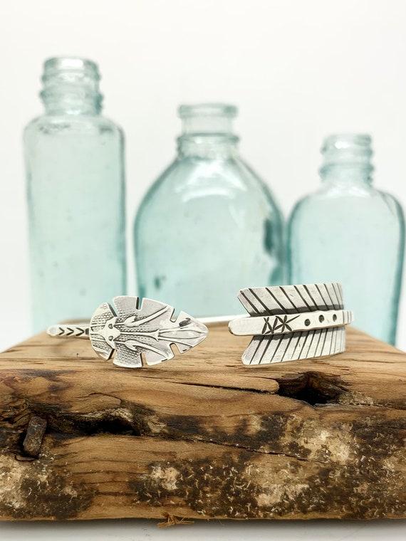 Arrow, Sterling Silver Spoon Bangle Bracelet, Stackable