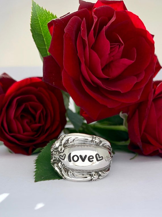Size 8.5, Single wrap style, Vintage Sterling Silver Spoon Ring, Love, Valentines Day, I Love You, Love