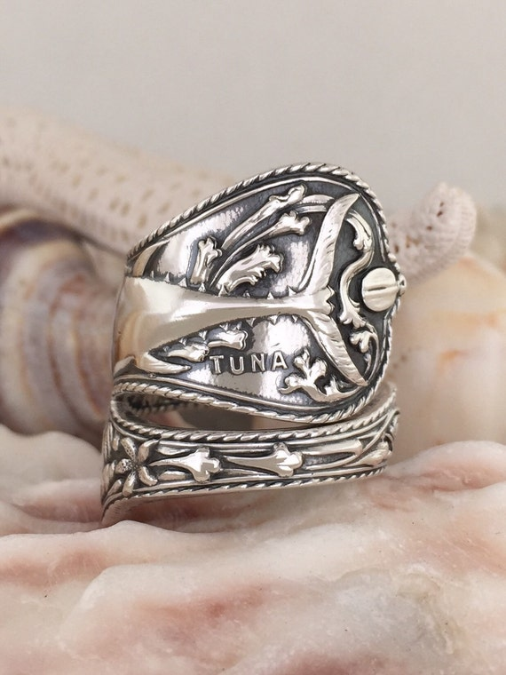 Size 5.5-10.5 Made to Order, Vintage Sterling Silver Spoon Ring, Nautical, double sided pattern