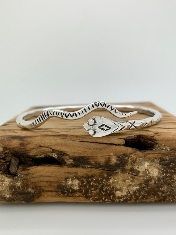 Made To Order, Snake, Sterling Silver Spoon Bangle Bracelet, Stackable