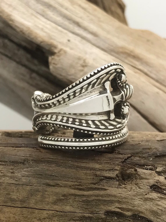 Size 4 Vintage Sterling Silver Spoon Ring