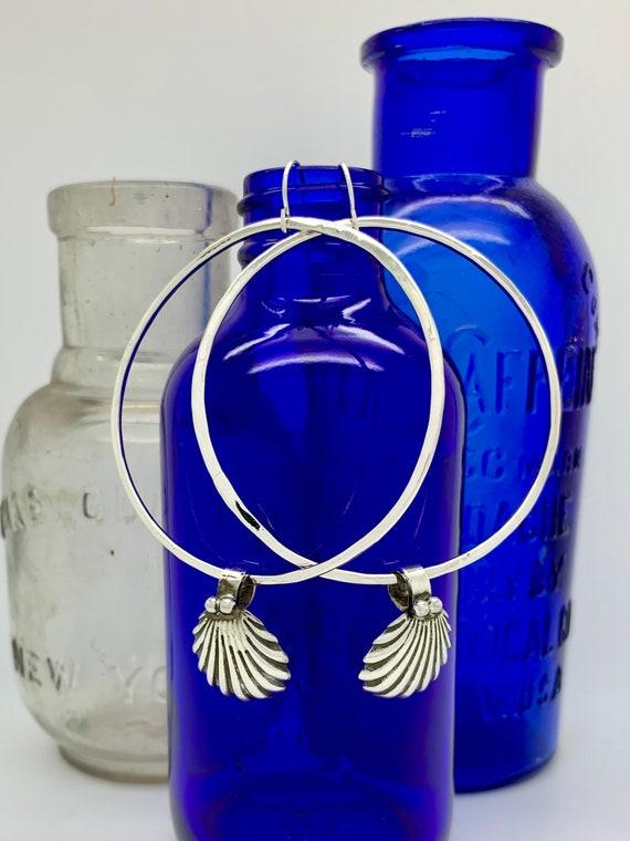 """Sterling Silver 2"""" Hoop Earrings, Vintage Spoon Earrings"""
