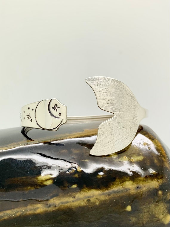 Mermaid Tail Sterling Silver Spoon Bracelet, Witch, Sea Witch, Moon