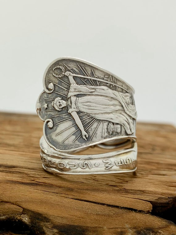 Size 8.5 Vintage Sterling Silver Spoon Ring, The Wondrous West
