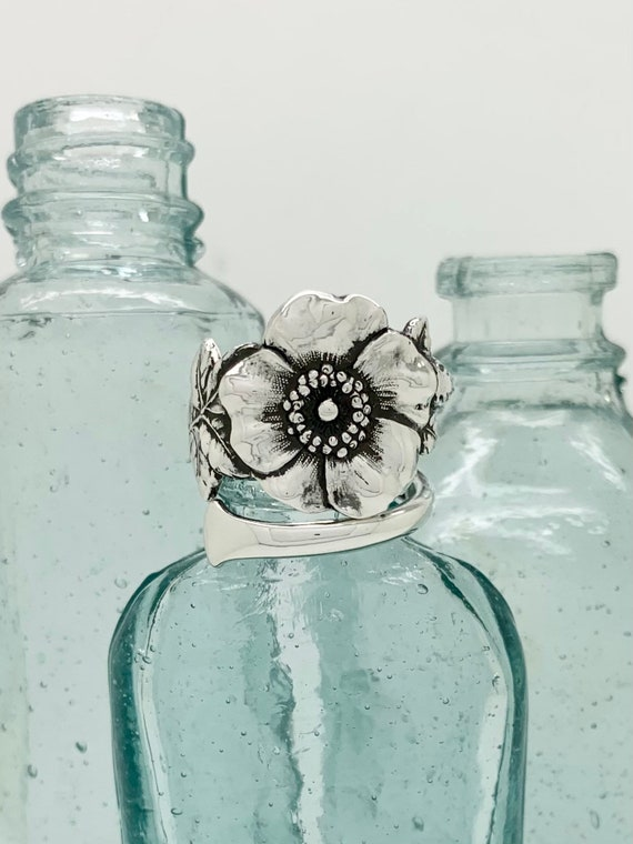 Vintage Solid Sterling Flower Spoon Ring, Wild Rose