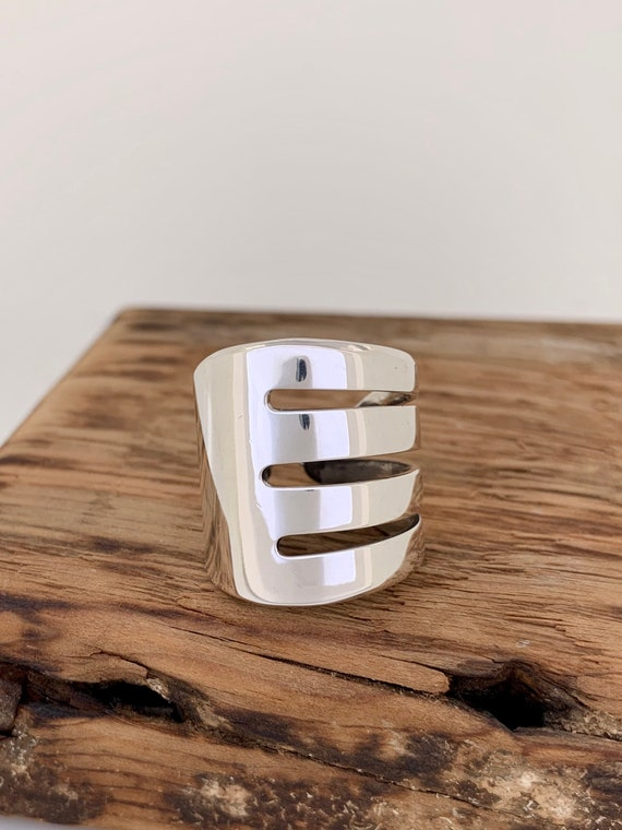 Single wrap style, Vintage Sterling Silver Silverware ring, fork ring, spoon ring