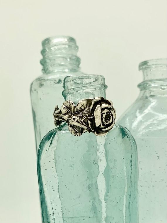 Size 9.5 Vintage Solid Sterling Flower Spoon Ring, Rose