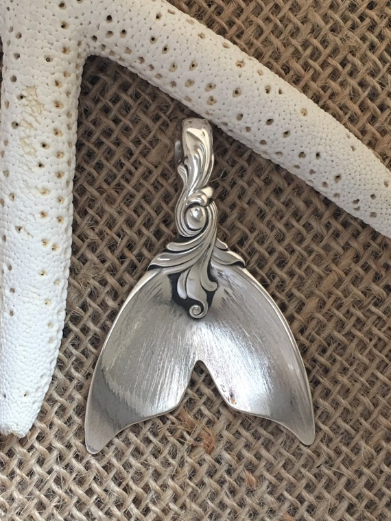 Ready to Ship, Romance of the Sea Large Mermaid tail Pendant, Sterling Silver