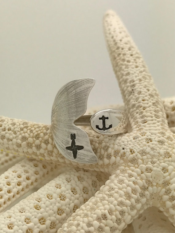 Sterling Silver Mermaid Tail Spoon Ring, Anchor, Compass Stamped