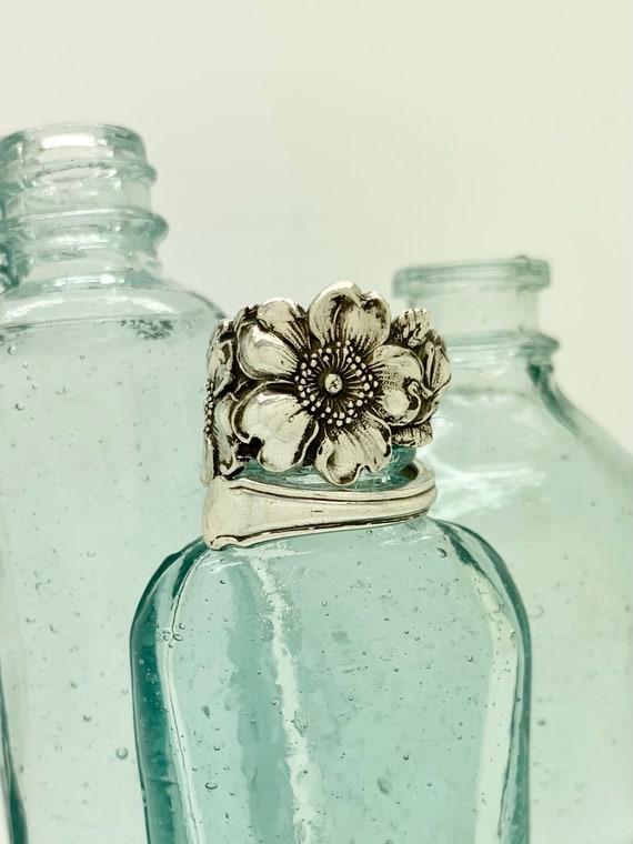 Vintage Solid Sterling Flower Spoon Ring, Wild Roses