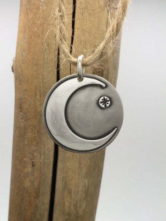 Round, Sterling Silver Moon and Stars Pendant