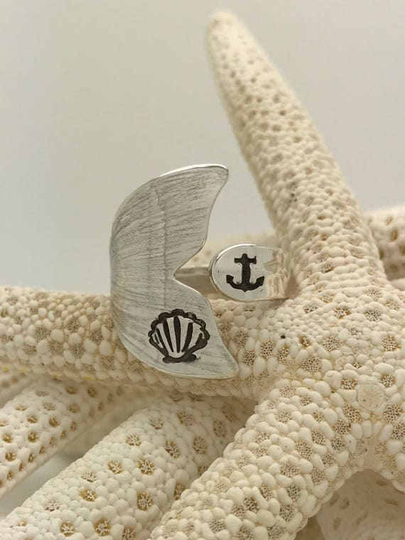 Sterling Silver Mermaid Tail Spoon Ring, Shell, Anchor Stamped