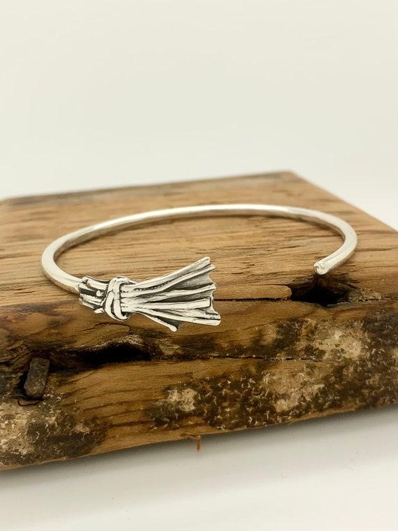 Sterling Silver Witch's Broom Bangle Bracelet, Stackable