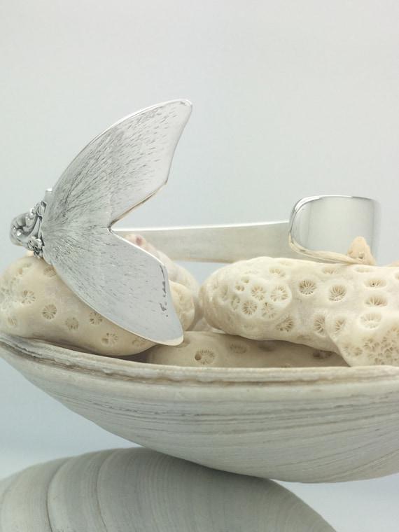 Sterling Silver Fish/Mermaid Tail Spoon Cuff/Bangle Bracelet