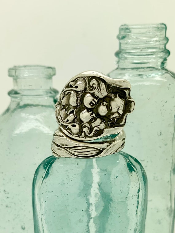 Vintage Sterling Silver Spoon Ring, Lady, Apple picking