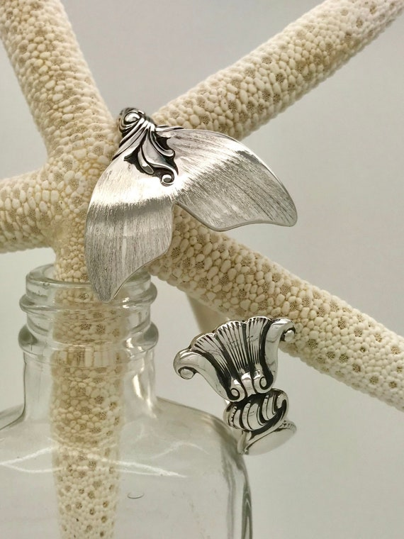 Made To Order , Sterling Silver Mermaid Tail Spoon Cuff/Bangle Bracelet