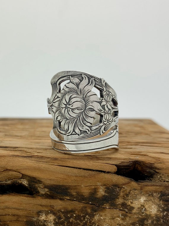 Vintage Sterling Silver Spoon Ring, Size 8, Native American, USA