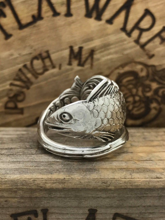 Made to Order, size 5.5-11 Vintage Sterling Silver Spoon Ring, Nautical, double sided fish pattern