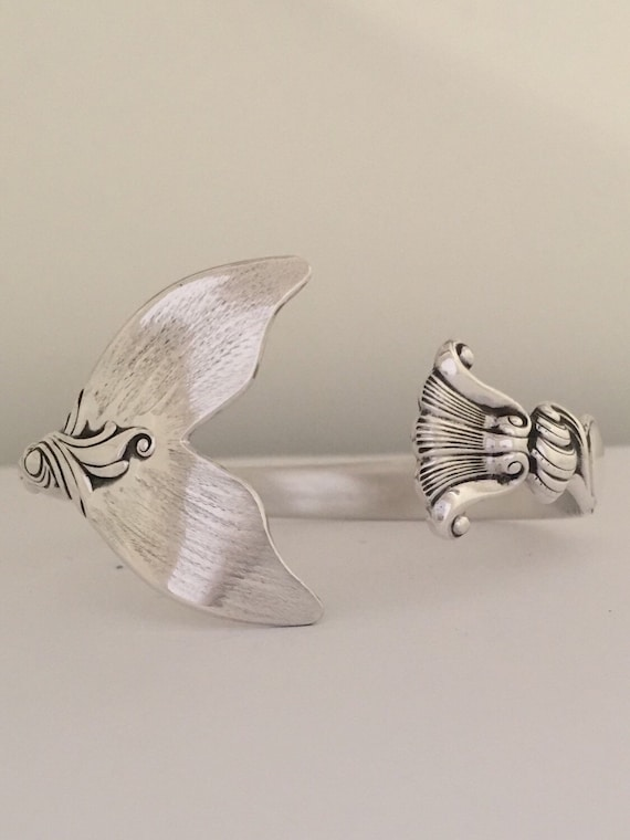 Sterling Silver Mermaid Tail Spoon Cuff/Bangle Bracelet