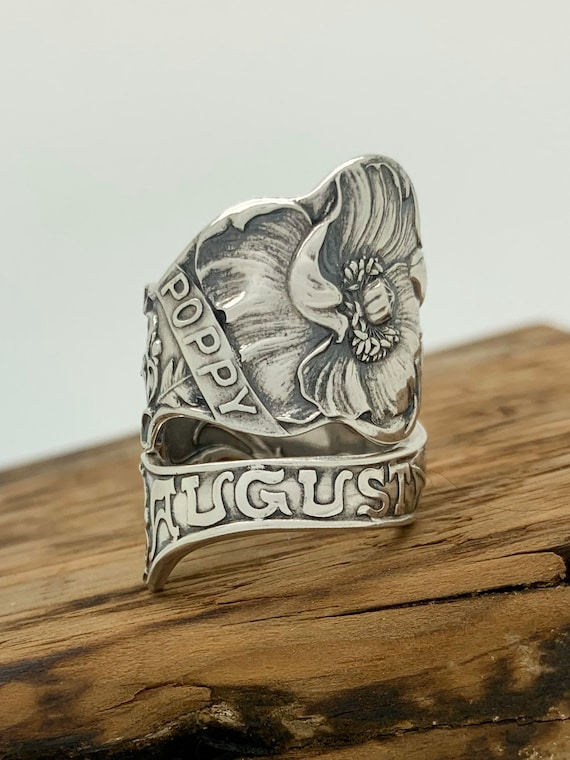 Size 8 Vintage August, Virgo Sterling Silver Spoon Ring