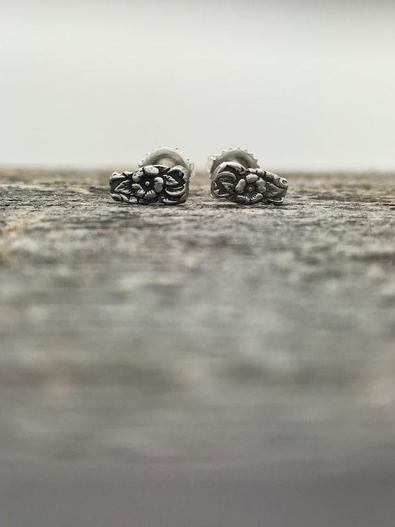 Vintage Sterling Silver Spoon Stud Earrings
