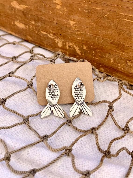 Sterling Silver Spoon Stud Earrings, Fish