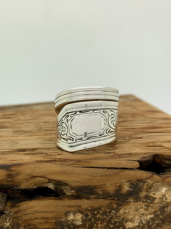 Size 6.5 Vintage, Hand Engraved, Sterling Silver Spoon Ring