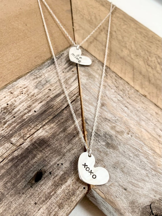 Sterling Silver spoon necklace, Valentines Day, xoxo, be mine, heart necklace
