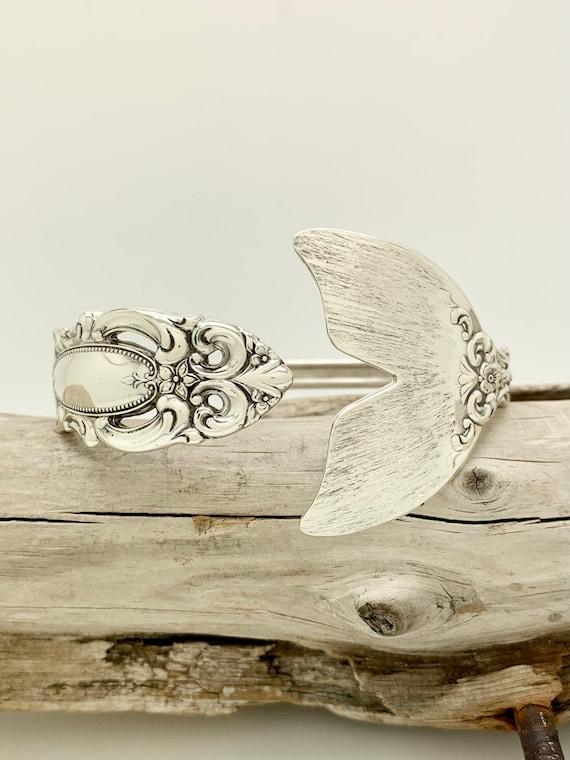 Vintage Sterling Silver Mermaid Tail Spoon Bracelet