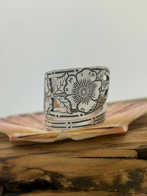 Vintage Sterling Silver Spoon Ring, Size 7, Wild Rose