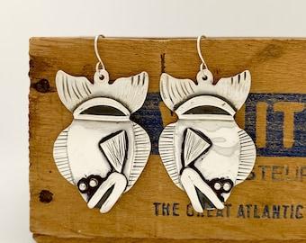Sterling Silver Fish Earrings, Made From Vintage Spoon Earrings