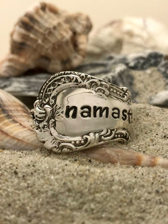 Single wrap style, Vintage Sterling Silver Spoon Ring, Namaste, Size 9