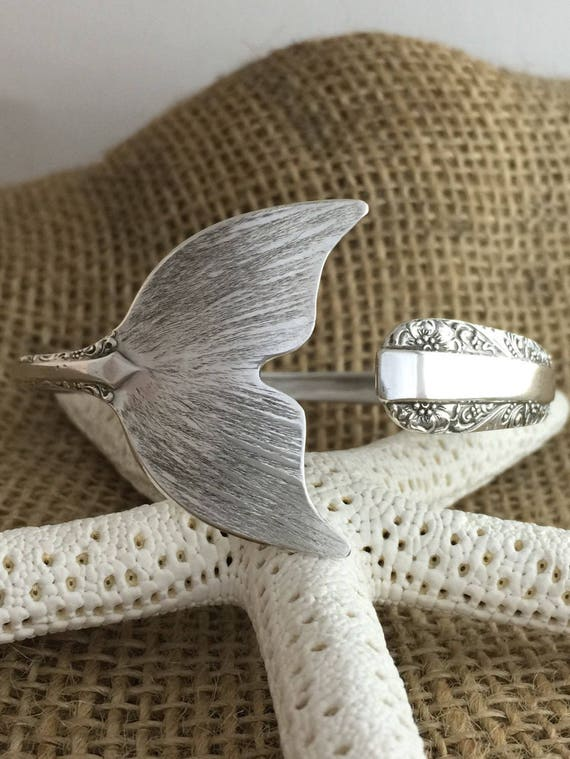 Made to Order, Sterling Silver Mermaid Tail Spoon Cuff/Bangle Bracelet