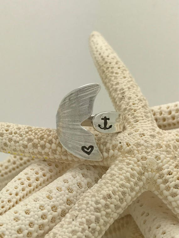 Sterling Silver Mermaid Tail Spoon Ring, Anchor, Heart Stamped