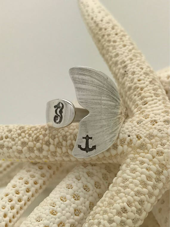 Sterling Silver Mermaid Tail Spoon Ring, Anchor, Seahorse Stamped