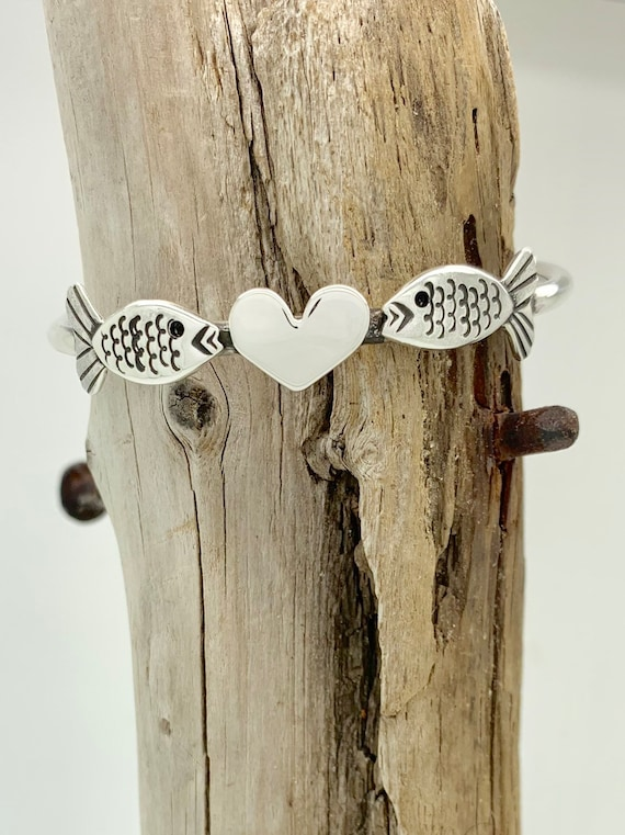 Customized Size, Made to Order, Love Fish, Sterling Silver Spoon Cuff Bracelet, Stack Bracelet