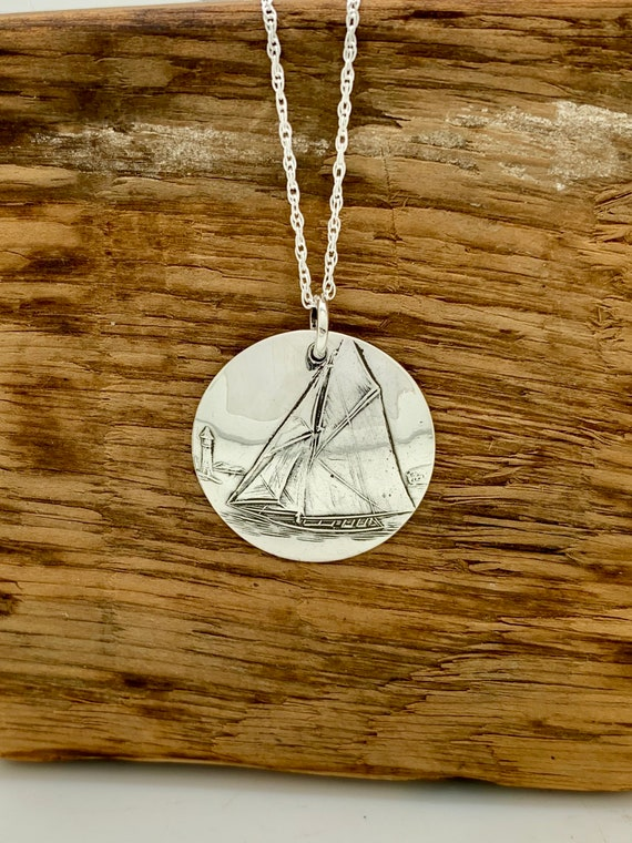 Sterling Silver spoon necklace, Sail Boat, Disk Necklace