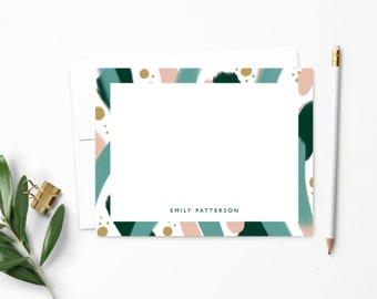 Personalized Note Cards | Personalized Stationery | Green & Pink Abstract Paint Strokes | Stationary | Notecards | Personalized Gift | NC148