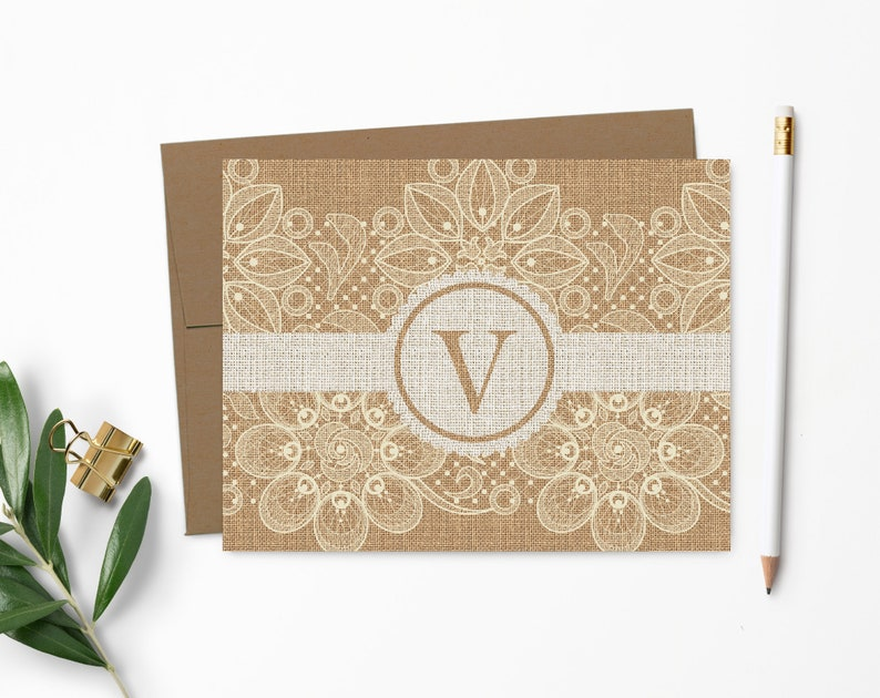 Burlap and Lace Note Cards  Rustic  Country Chic  Monogram 100% Recycled Kraft