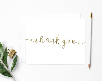 Note Card Set. Stationery. Faux Gold Foil Calligraphy. Stationary. Personalized Gift. Notecards. Thank You Cards // NC127