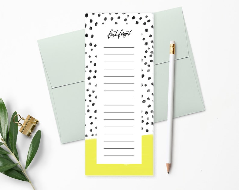 To Do List Notepad  Planner Notepad  Chartreuse & Black image 0