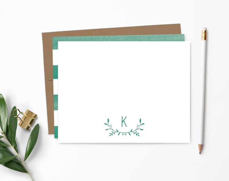 Personalized Note Card Set. Personalized Stationery. Leafy 100% Recycled Kraft