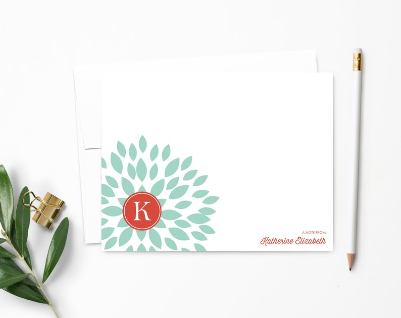 Personalized Flower Note Cards  Personalized Stationery  Ultra White
