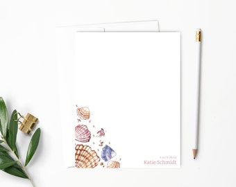 Personalized Note Card Set. Personalized Stationery. Sea Shell. Beach. Ocean. Personalized Stationary. Notecards. Personalized Gift // NC122