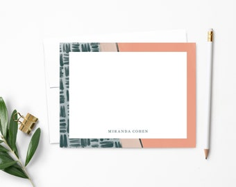 Personalized Note Card Set | Personalized Stationery | Emerald & Salmon Abstract Paint | Stationary | Notecards | Personalized Gift | NC146