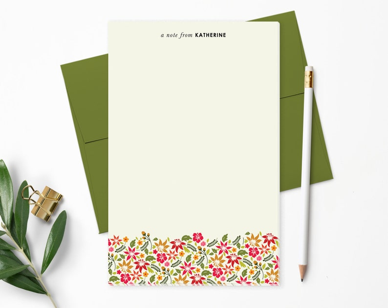 Personalized Notepad. Tropical Hawaiian Flowers. Personalized image 0