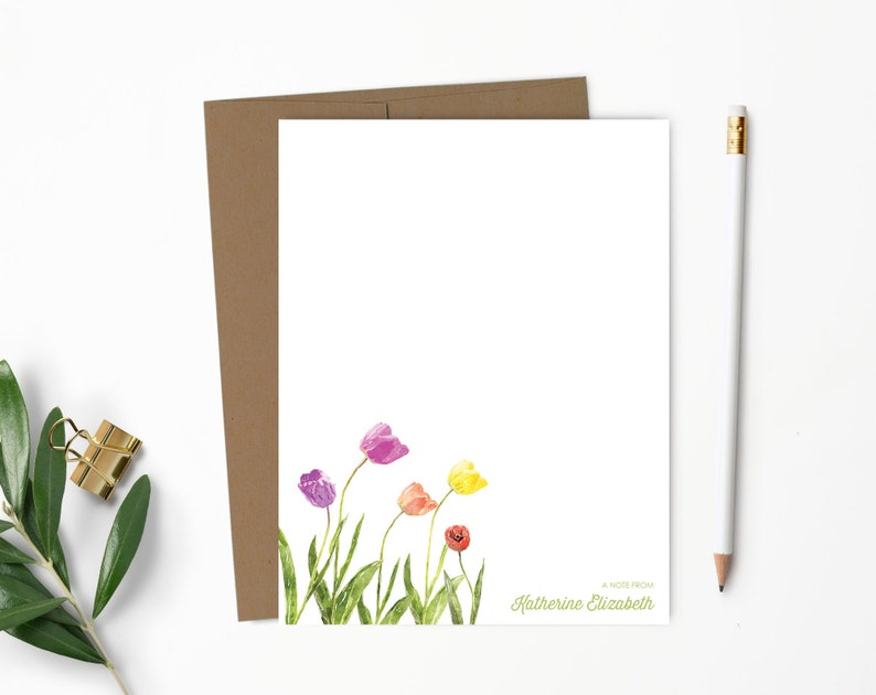 Personalized Note Card Set. Personalized Stationery. Flowers. 100% Recycled Kraft