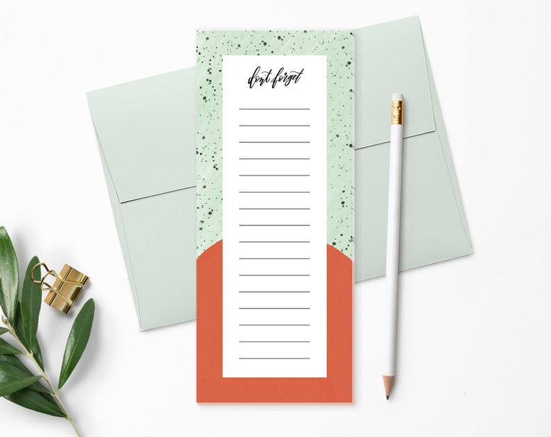 To Do List Notepad  Planner Notepad  Mint & Red  Desk Pad  image 0