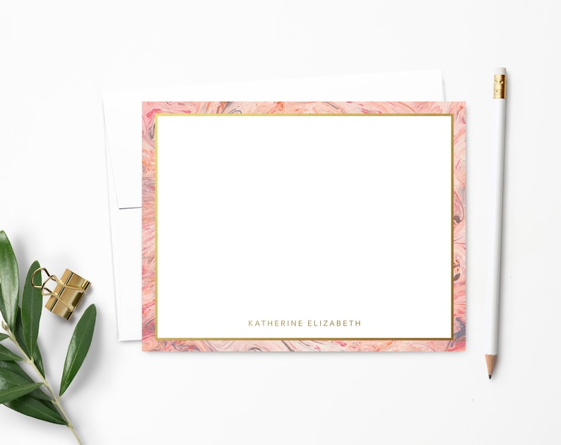 Blush Pink Marble and Gold Stationery  Monogram Stationary  Ultra White