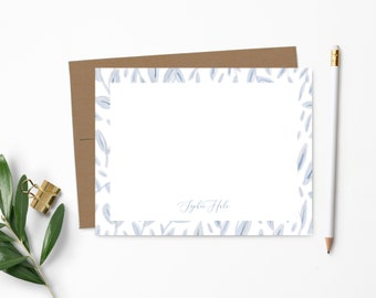 Personalized Note Card Set. Personalized Stationery. Pretty Periwinkle Floral Vines. Stationary. Notecards. Personalized Gift // NC147